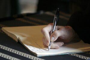 hand, writing, pen